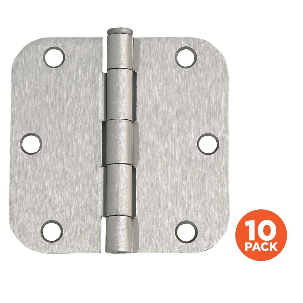 3-1/2 in. x 5/8 in. Radius Satin Nickel Door Hinge Value