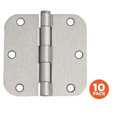 3-1/2 in. x 5/8 in. Radius Satin Nickel Door Hinge Value Pack (10 per Pack)