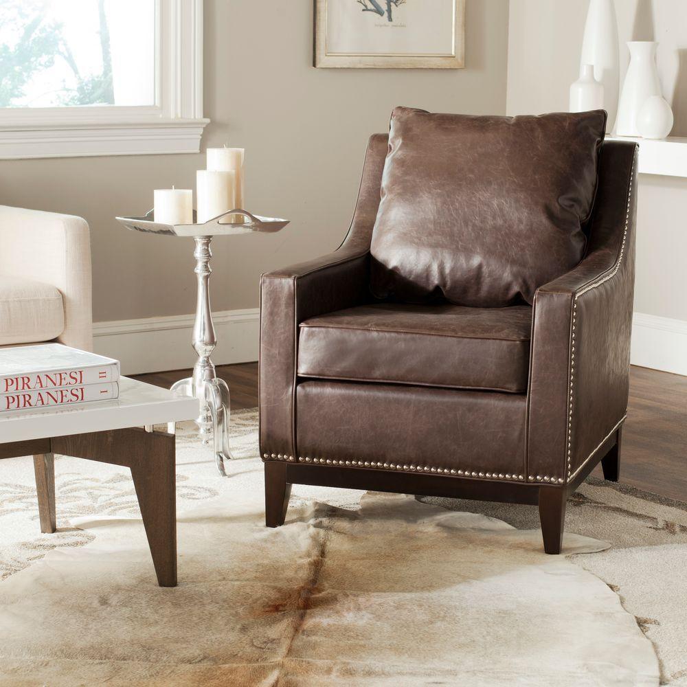 Safavieh Colton Antique Brown/Espresso Bicast Leather Club Arm Chair - Safavieh Colton Antique Brown/Espresso Bicast Leather Club Arm Chair