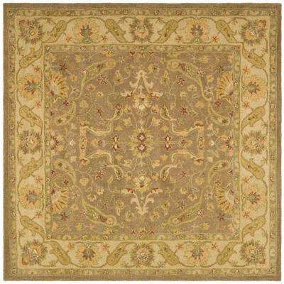 Antiquity Brown/Gold 8 ft. x 8 ft. Square Area Rug