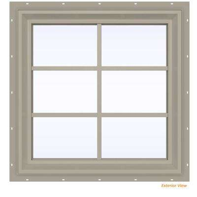 23.5 in. x 35.5 in. V-2500 Series Desert Sand Vinyl Fixed Picture Window with Colonial Grids/Grilles