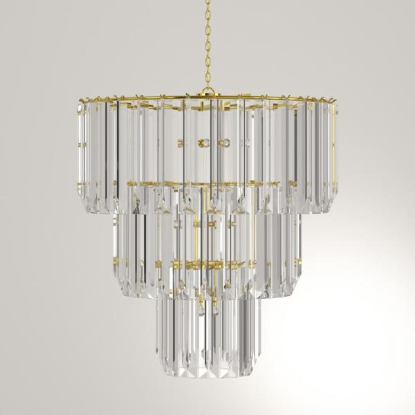 Bel Air Lighting Tranquility 9 Light Polished Brass Tiered Chandelier With Beveled Acrylic Crystal Shade 9647 Pb The Home Depot