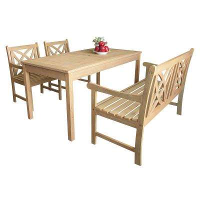 Beverly 4-Piece Sand-Splashed Wood Outdoor Dining Set
