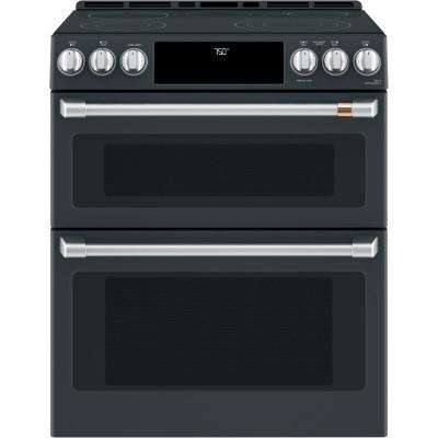 30 in. 7.0 cu. ft. Slide-In Double Oven Electric Range with Convection in Matte Black, Fingerprint Resistant