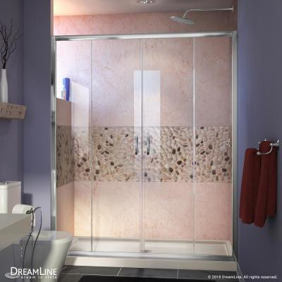 Visions 60 in. W x 34 in. D x 74-3/4 in. H Semi-Frameless Shower Door in Chrome with Biscuit Base Center Drain