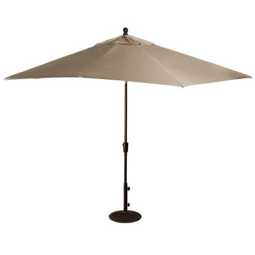 Caspian 8 ft. x 10 ft. Rectangular Market Push-Button Tilt Patio Umbrella in Stone Sunbrella Acrylic