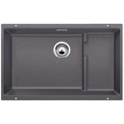 PRECIS Cascade Undermount Granite Composite 29 in. Single Bowl Kitchen Sink in Cinder