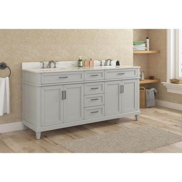 Home Decorators Collection Talmore 60 In Double Vanity In Sky Grey With Vanity Top With White Basin Va Fc0201 The Home Depot