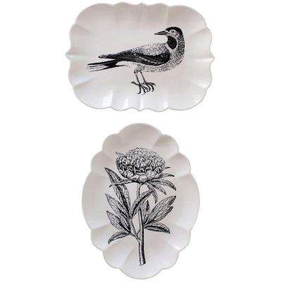 Bird and Flower White Stoneware Plate (Set of 2)