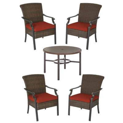 Harper Creek Brown 5-Piece Steel Outdoor Patio Dining Set with CushionGuard Quarry Red Cushions