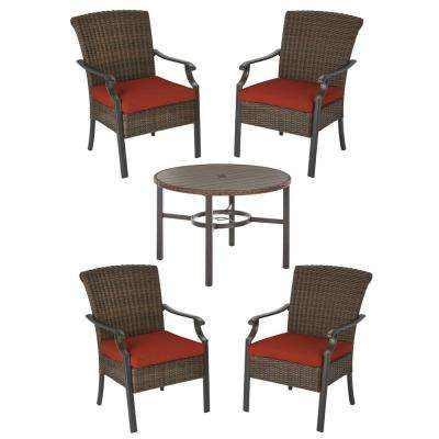 Harper Creek 5-Piece Brown Steel Outdoor Patio Dining Set with CushionGuard Quarry Red Cushions