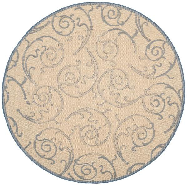 Courtyard Natural/Blue 8 ft. x 8 ft. Indoor/Outdoor Round Area Rug