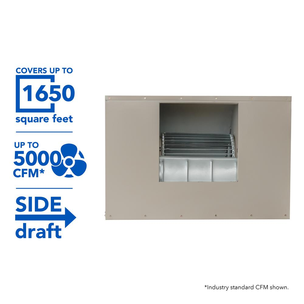 5000 CFM 2-Speed Side-Draft Wall/Roof 12 in. Media Evaporative Cooler for