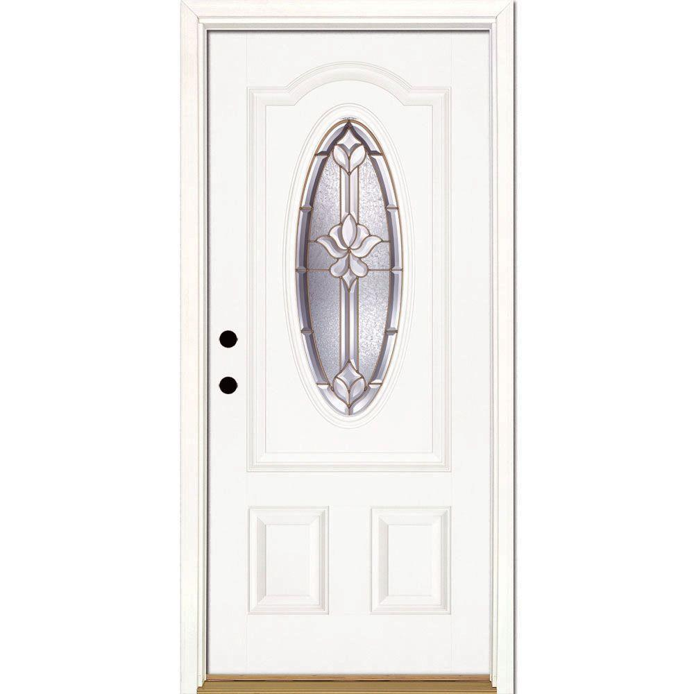Feather River Doors 37.5 in. x 81.625 in. Medina Brass 3/4 Oval Lite Unfinished Smooth Right-Hand Inswing Fiberglass Prehung Front Door