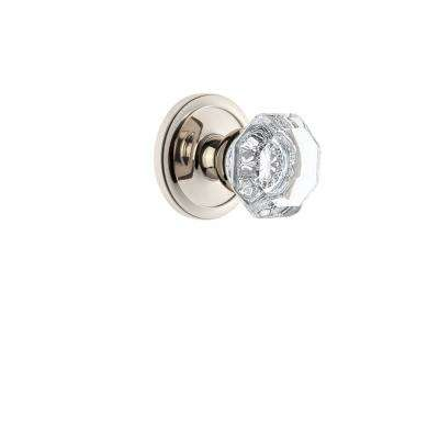 Circulaire Rosette 2-3/8 in. Backset Polished Nickel Passage Hall/Closet with Chambord Crystal Door Knob