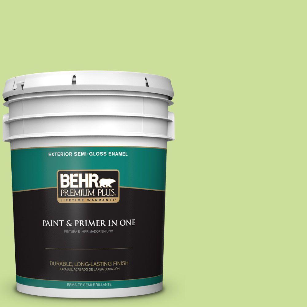 BEHR Premium Plus 5-gal. #420A-3 Key Lime Semi-Gloss Enamel Exterior Paint