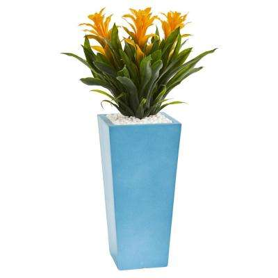 26 in. High Triple Yellow Bromeliad Artificial Plant in Turquoise Tower Vase