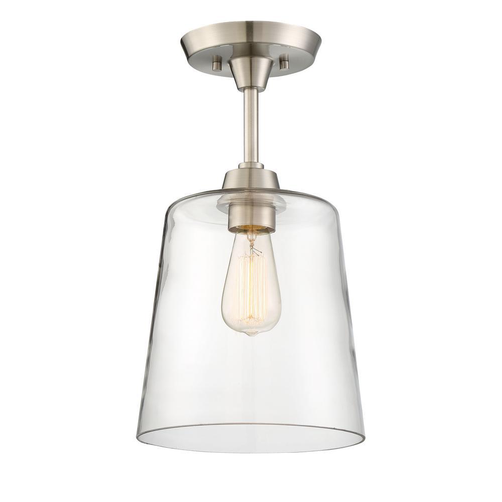 1-Light Polished Nickel Semi-Flush Mount