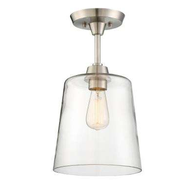 1-Light Polished Nickel Semi-Flush Mount