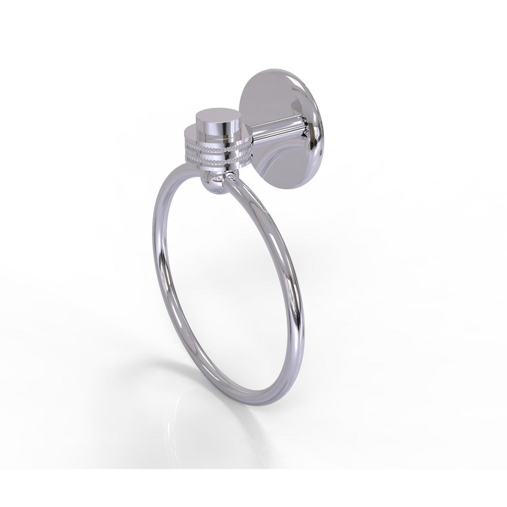 Allied Brass Satellite Orbit One Collection Towel Ring with Dotted Accent in Polished Chrome