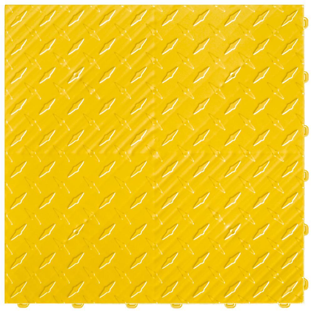 15.75 in. x 15.75 in. Citrus Yellow Diamond Trax 25-Tile Modular Flooring Pack (43 sq. ft./case)