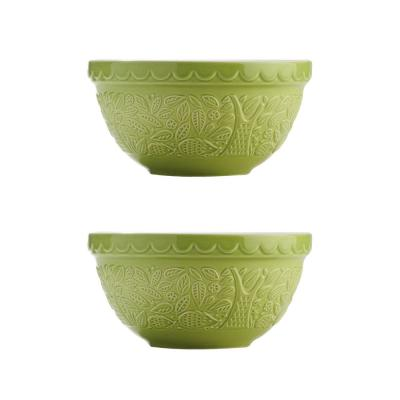 In The Forest Hedge Hog Green Mixing Bowl (Set of 2)