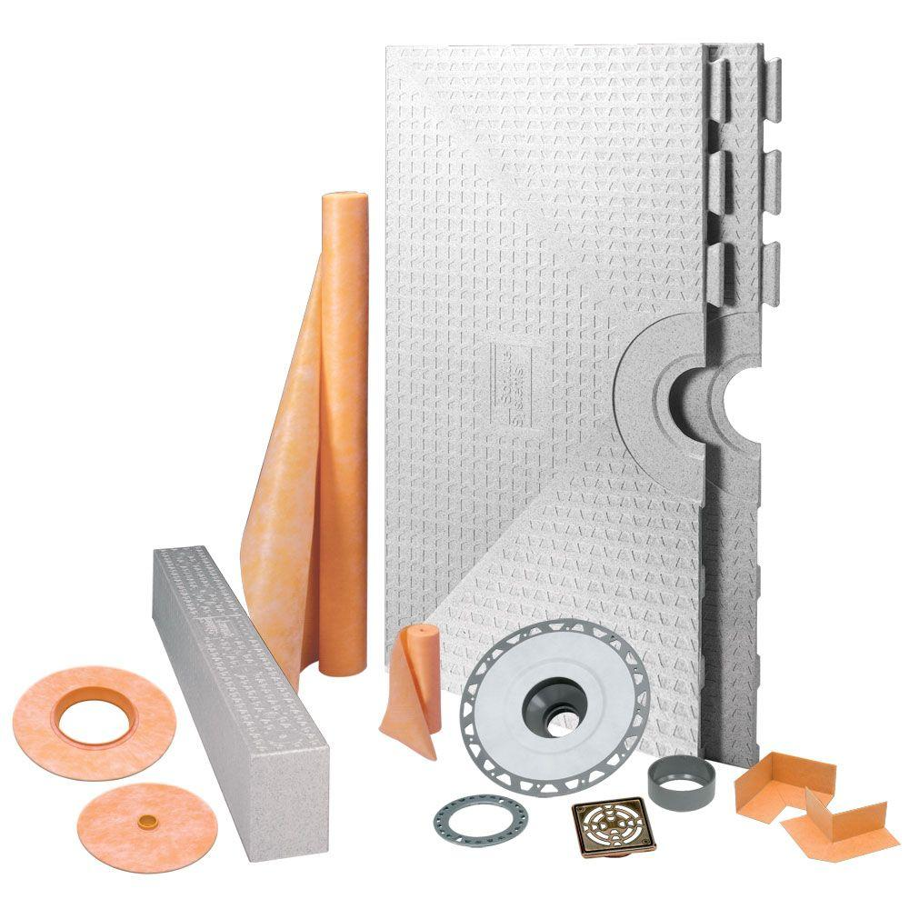 Schluter Kerdi-Shower 48 in. x 48 in. Shower Kit in PVC with Oil-Rubbed Bronze Stainless Steel Drain Grate