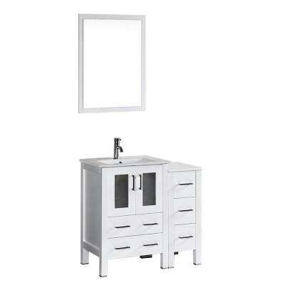 Bosconi 36 in. W Single Bath Vanity in White with Ceramic Vanity Top with White Basin and Mirror