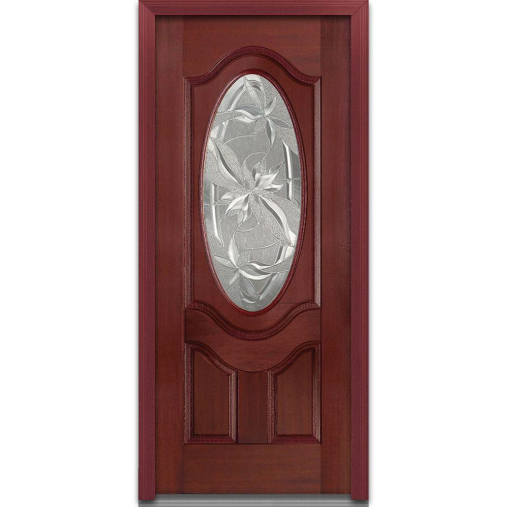 36 in. x 80 in. Lasting Impressions Right-Hand Oval Lite 2-Panel