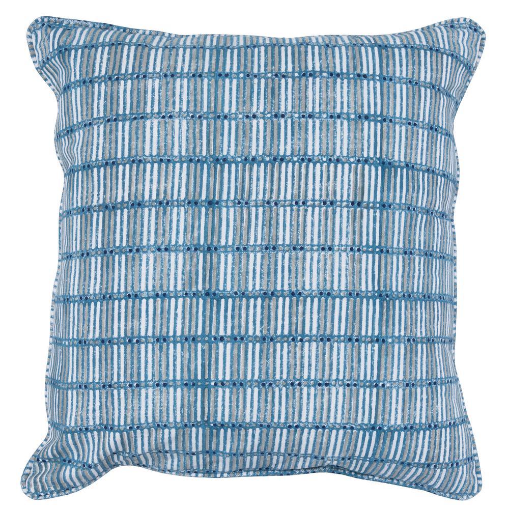 Aubrey Parisian Blue/ Ivory 22 in. x 22 in. Cotton Block Print Decorative Pillow