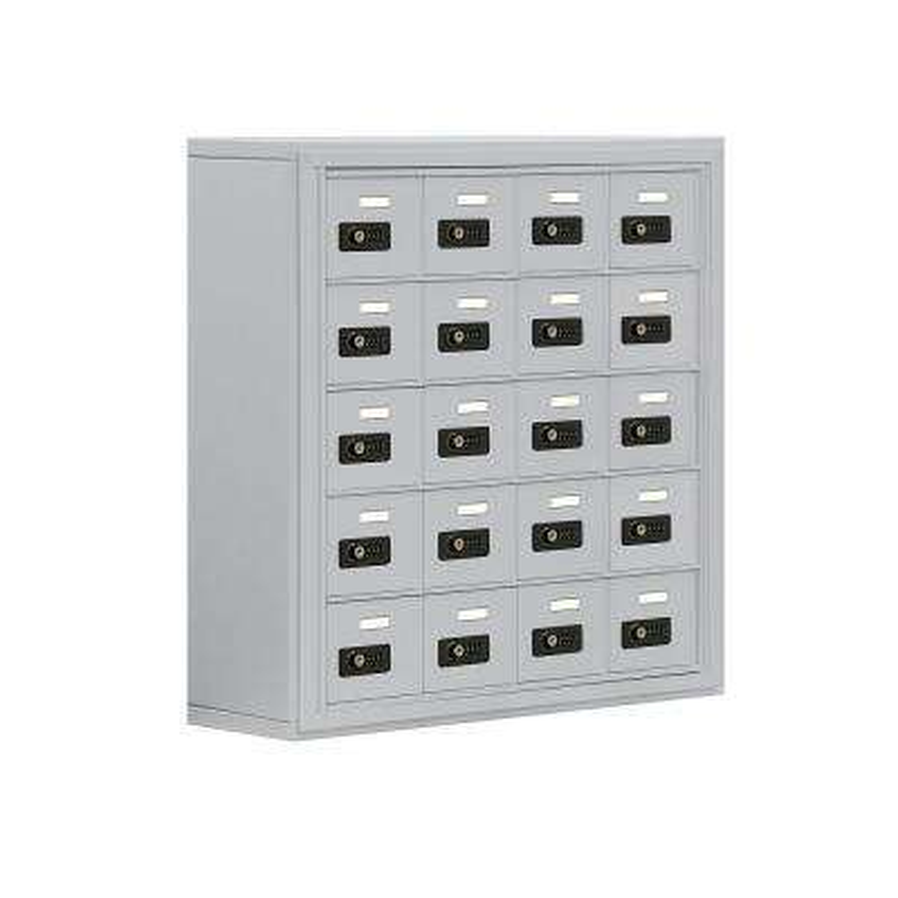 19000 Series 30.5 in. W x 31 in. H x 9.25 in. D 20 A Doors S-Mount Resettable Locks Cell Phone Locker in Aluminum
