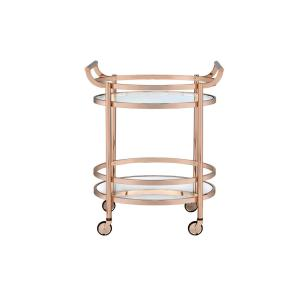 Lakelyn Clear Glass and Rose Gold Serving Cart