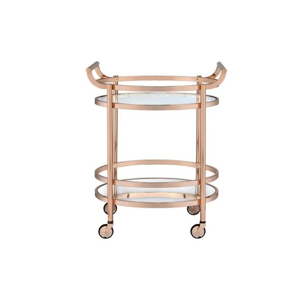 ACME Furniture Lakelyn Clear Glass and Rose Gold Serving Cart