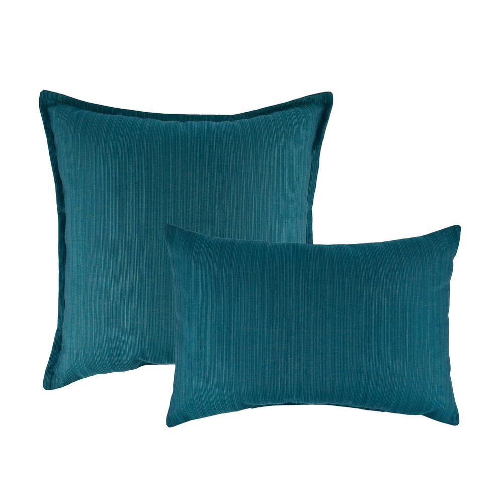 Sunbrella Dupione Deep Sea Combo Outdoor Pillow