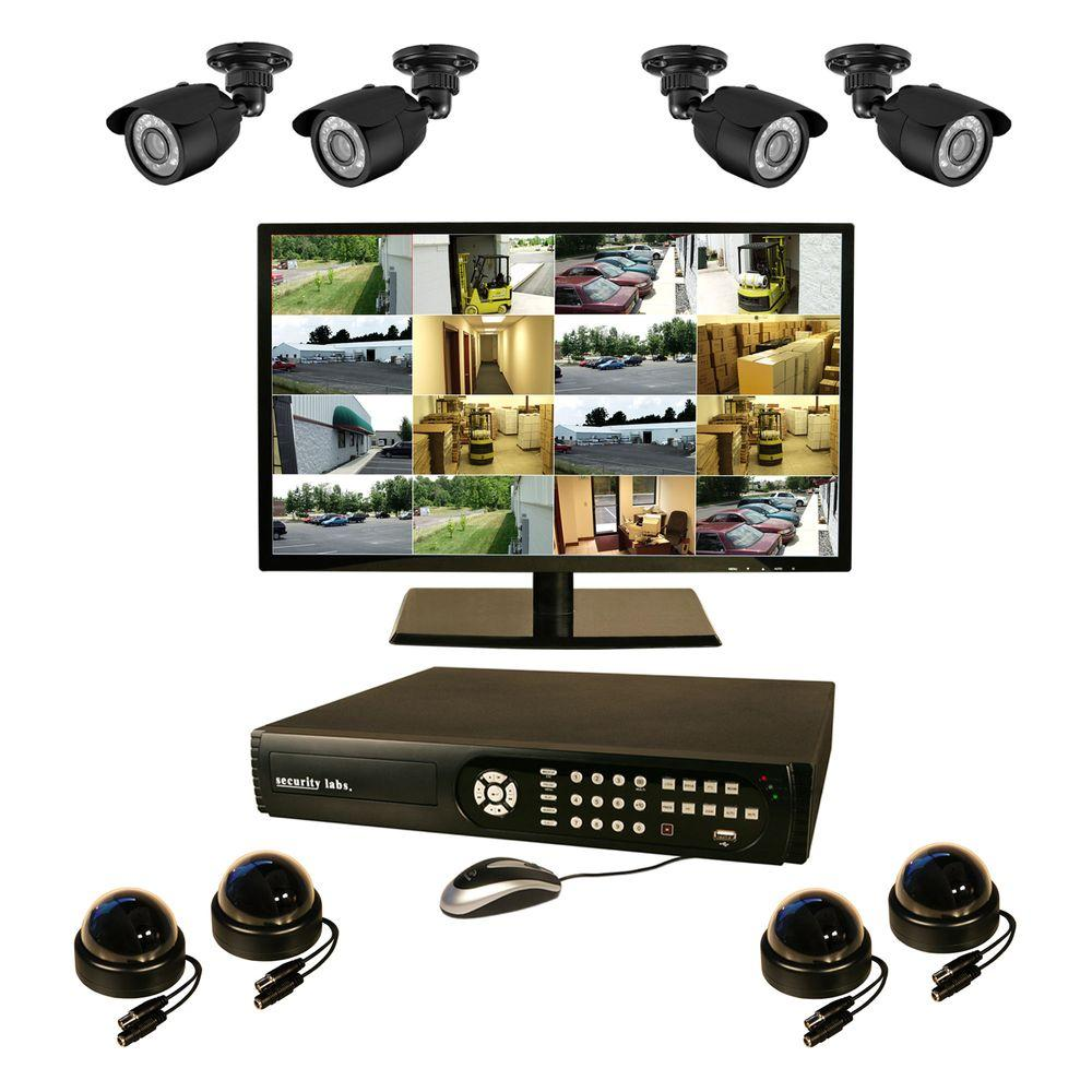 Security Labs 16 CH 1 TB Surveillance System with 8 High-Res Cameras and 22 in. LED Monitor-DISCONTINUED
