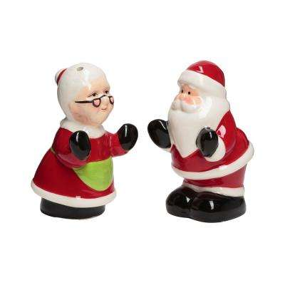 Mr and Mrs Clause Multicolor Ceramic Salt and Pepper Shakers with Figural Shapes