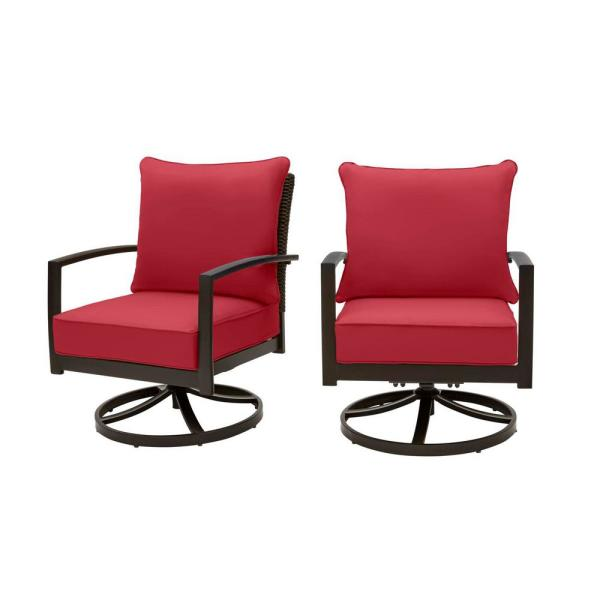 Whitfield Dark Brown Wicker Outdoor Patio Motion Conversation Chair with CushionGuard Chili Red Cushions (2-Pack)