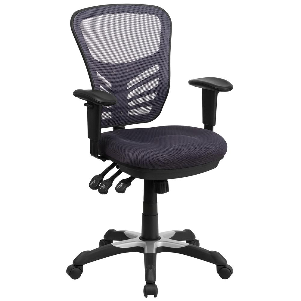 Flash Mid Back Dark Gray Mesh Swivel Task Chair Triple Paddle Control Image