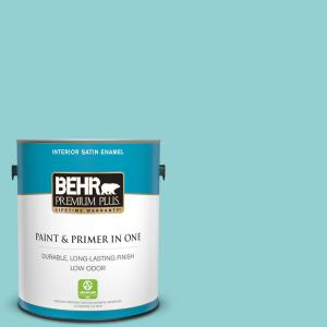 Behr Premium Plus 1 Gal M460 3 Big Surf Satin Enamel Low Odor Interior Paint And Primer In One 705001 The Home Depot