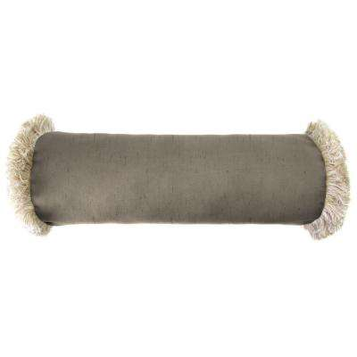 Sunbrella 7 in. x 20 in. Frequency Sand Bolster Outdoor Pillow with Canvas Fringe