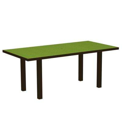 Euro Textured Bronze 36 in. x 72 in. Patio Dining Table with Lime Top