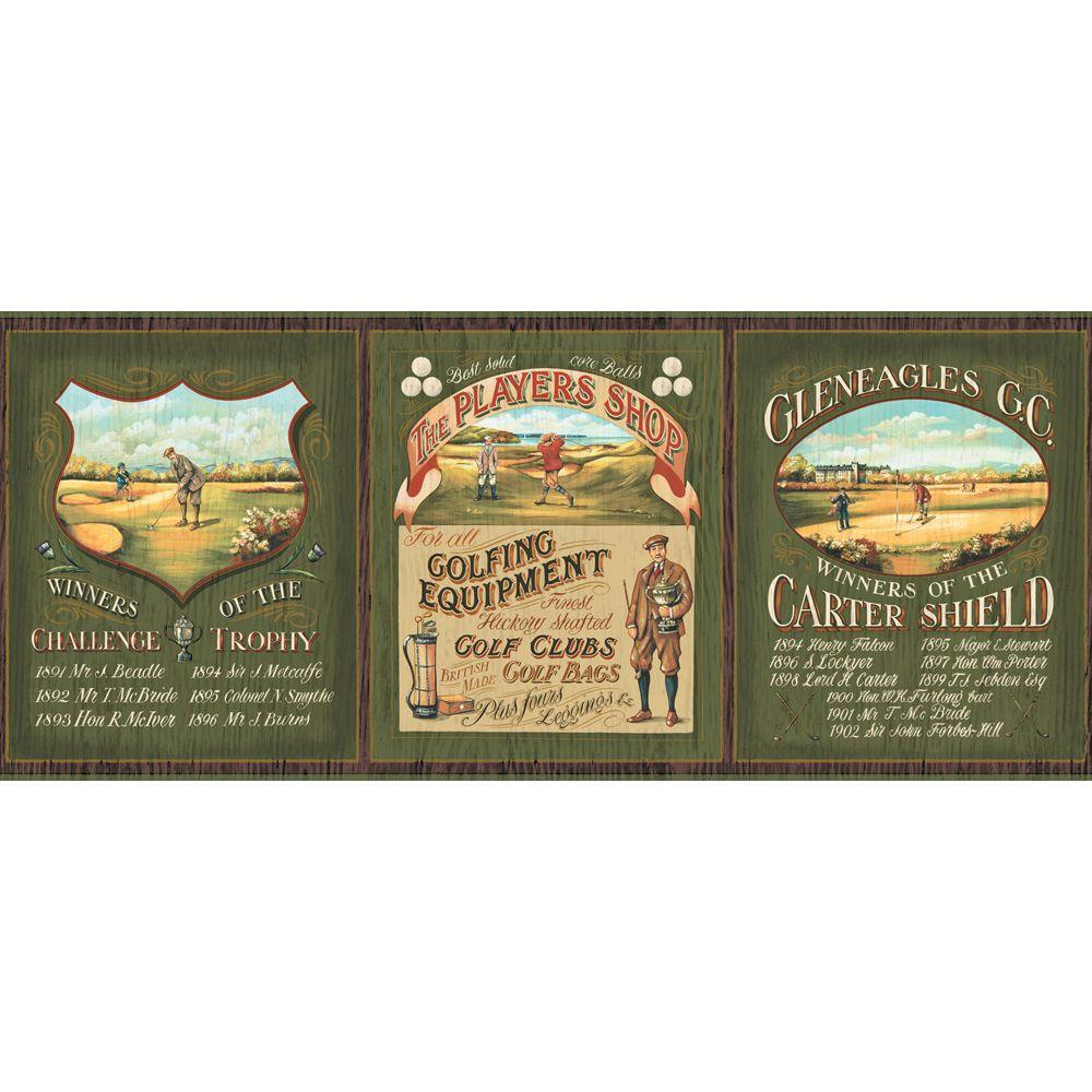 The Wallpaper Company 8 in. x 10 in. Green Earth Tone Golf Border Sample