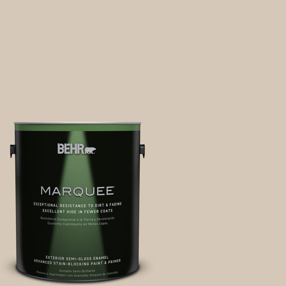 1 gal. #MQ3-10 French Beige Semi-Gloss Enamel Exterior Paint