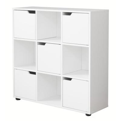 9 Cube Wooden Bookshelf Organizer with 5 Enclosed Doors and 4 Shelves, White
