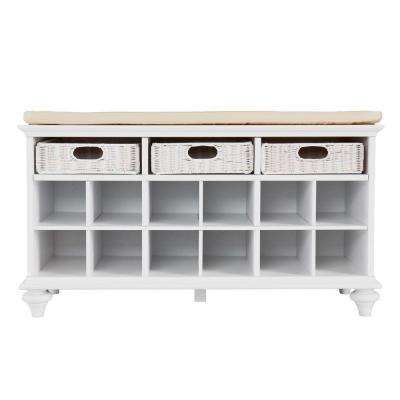 Sherman White Storage Bench