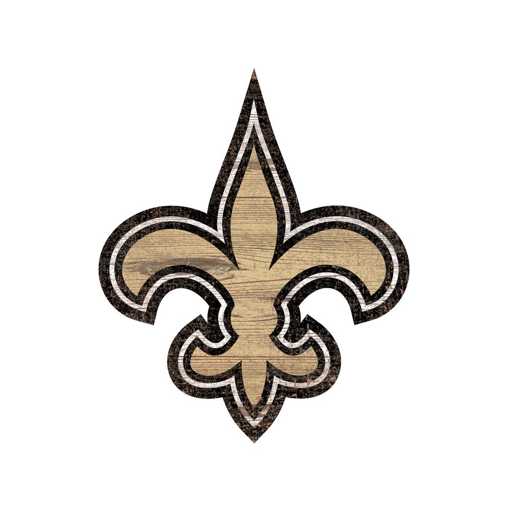 Nfl Indoor New Orleans Saints Distressed Logo Cutout Wood Sign N0843