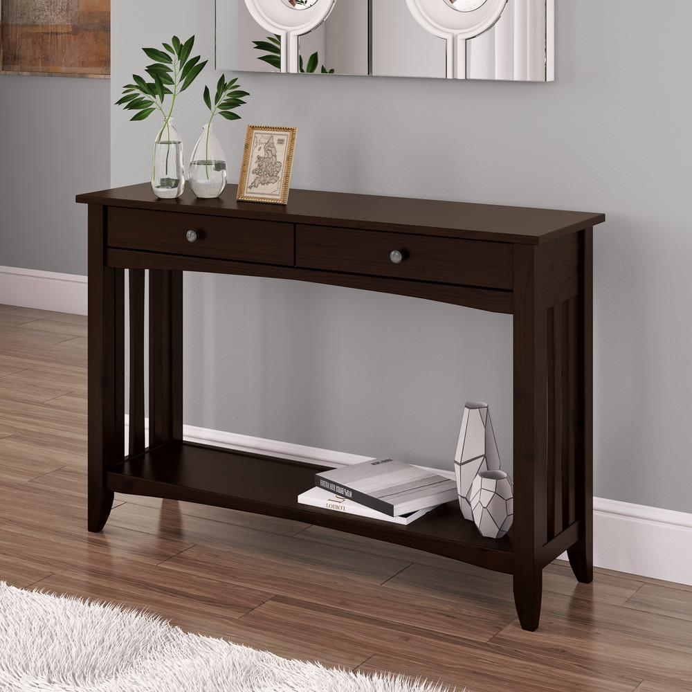 CorLiving Crestway Espresso Console Table with Drawers-LXY-033-T - The Home Depot