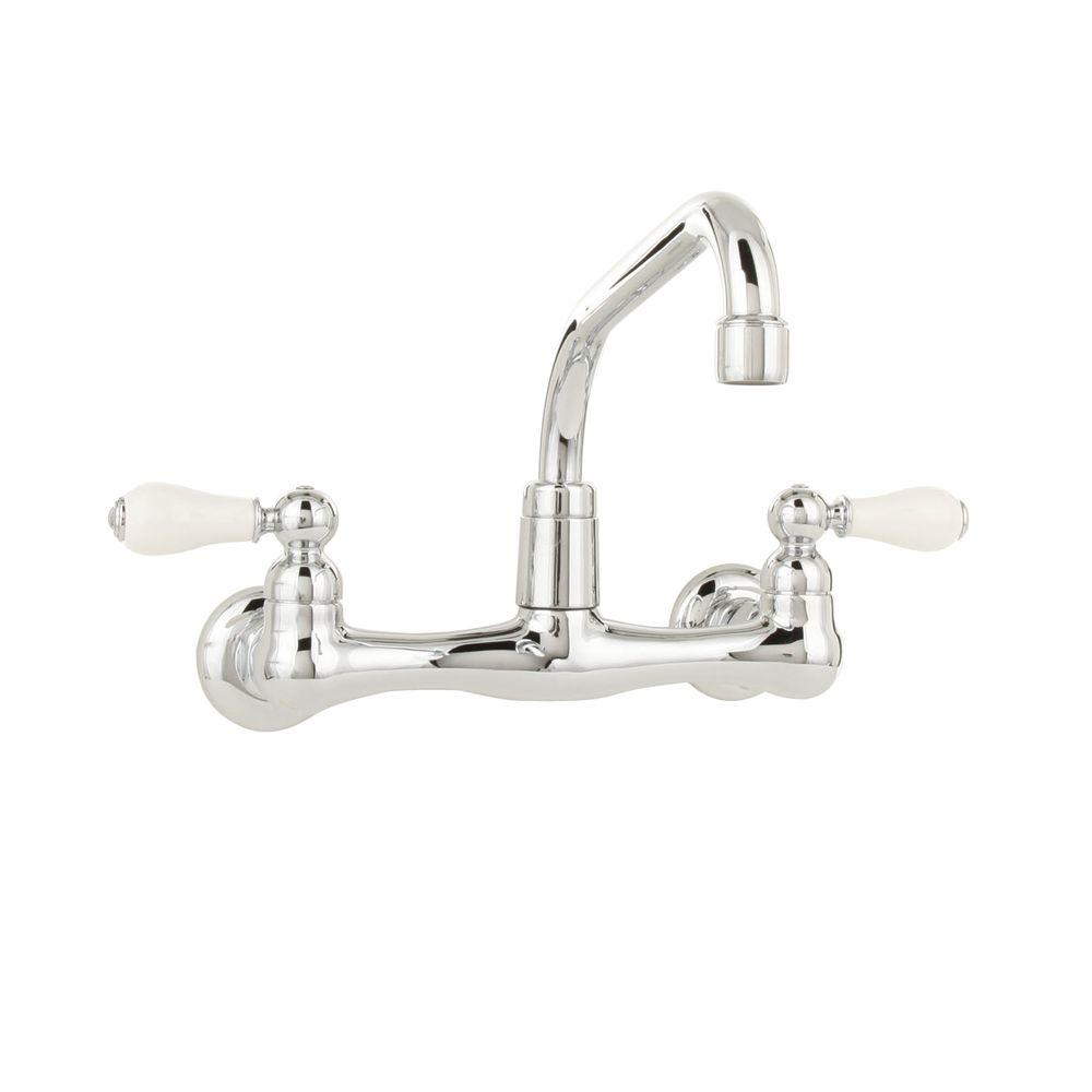 American Standard Heritage 2-Handle Wall-Mount Kitchen Faucet in Polished  Chrome