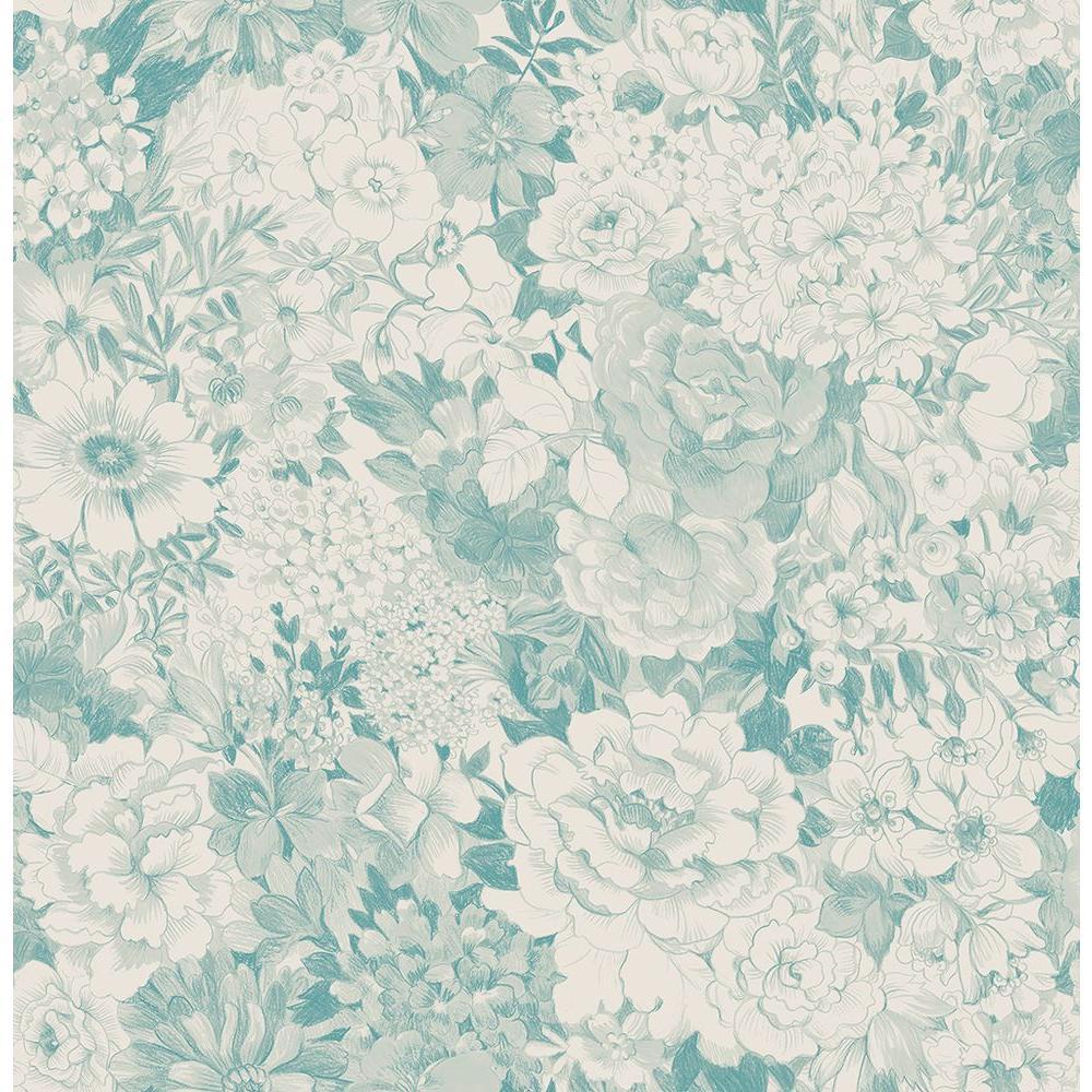 Kita Turquoise Song Garden Wallpaper Sample