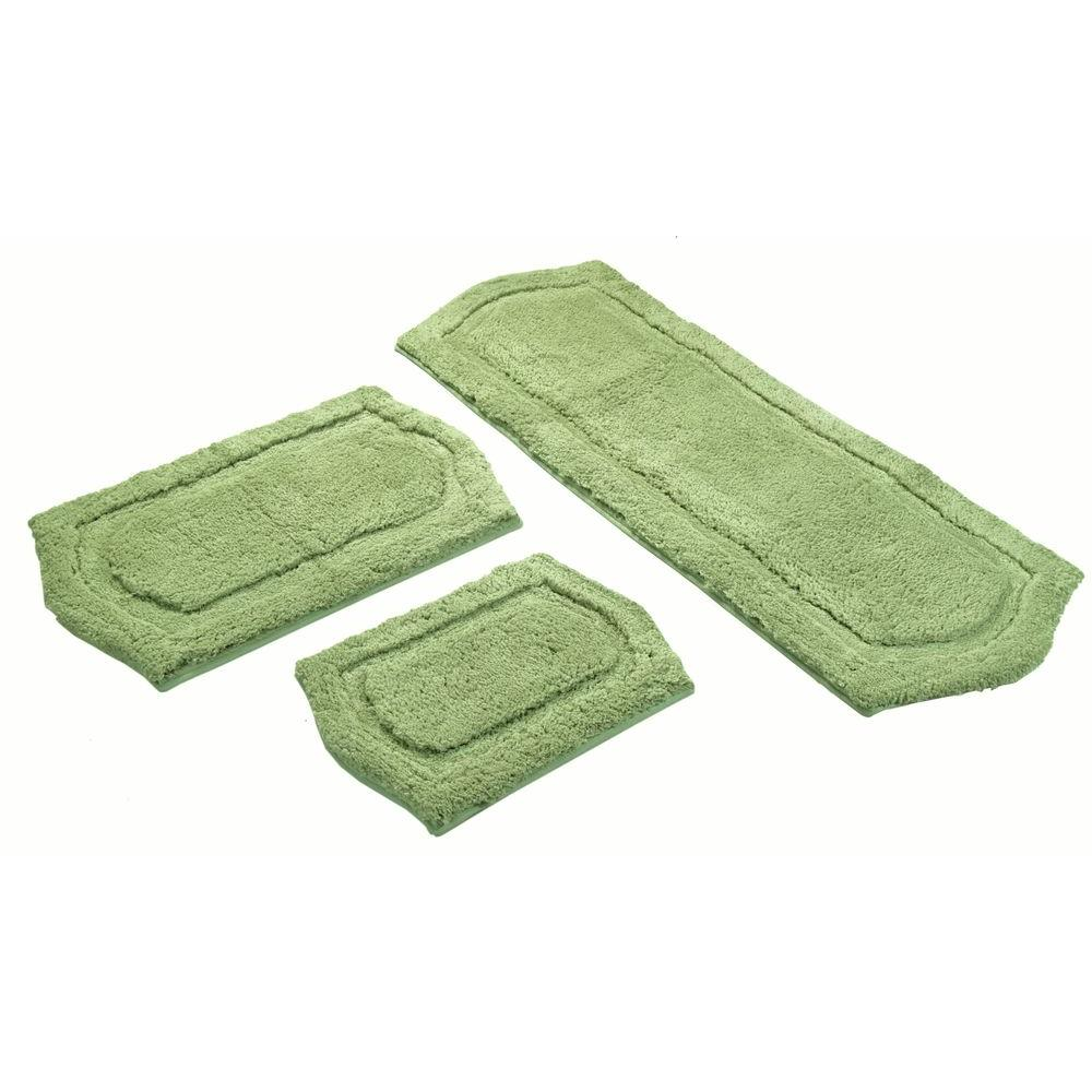 Chesapeake Merchandising 22 in. x 60 in., 21 in. x 34 in. and 17 in. x 24 in. 3-Piece Paradise Memory Foam Bath Rug Set in Sage